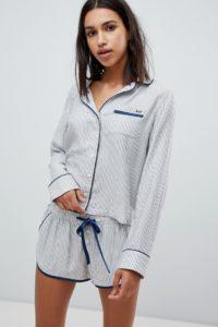 Abercrombie & Fitch - Weich fallender Pyjama mit Streifen - Blau - Farbe:Blau