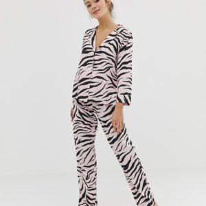 ASOS DESIGN – Traditionelles Hosenset mit Zebra-Print, 100% Modal – Rosa