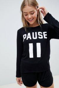 Adolescent Clothing - Pause - Schlafanzug aus T-Shirt und Shorts - Schwarz - Farbe:Schwarz