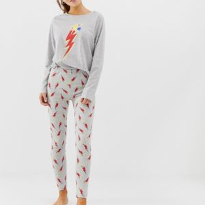 ASOS DESIGN – Mix & Match – Pyjamaleggings aus Jersey mit Blitz-Motiv – Grau