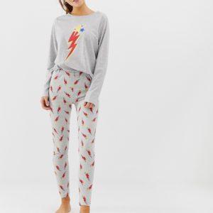 ASOS DESIGN – Mix & Match – Pyjamaleggings aus Jersey mit Blitz-Motiv – Grau
