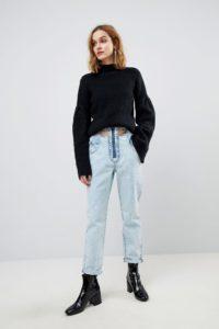 ASOS - ORIGINAL - Mom-Jeans in heller Vintage-Waschung mit Gürtel - Blau - Farbe:Blau