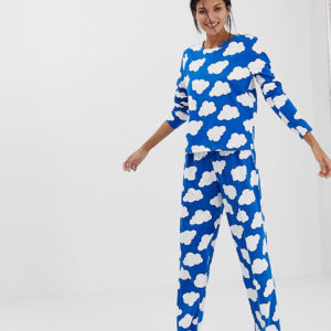 ASOS DESIGN – Tall – Mix & Match – Traditionelle Jersey-Pyjamahose mit Wolken-Design – Blau