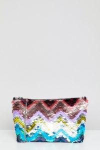 Accessorize - Clutch mit Pailletten in Regenbogenfarben und Reißverschluss - Mehrfarbig - Farbe:Mehrfarbig