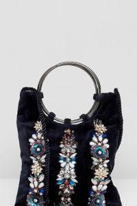 Accessorize - Izabella - Verzierter Samt-Pouch mit Ring-Henkel - Navy - Farbe:Navy