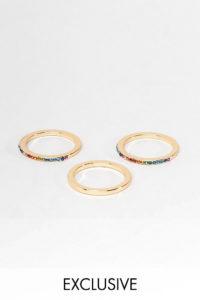 Accessorize - Ringe mit Regenbogendesign im 3er-Multipack - Mehrfarbig - Farbe:Mehrfarbig