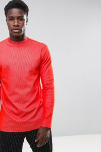 Weekday - Jake - Langärmliges Shirt mit Rippenmuster - Rot - Farbe:Rot
