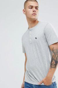 Abercrombie & Fitch - Grau meliertes Henley-T-Shirt mit Logo - Grau - Farbe:Grau