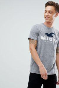 Hollister - Core Tech - Kalkgraues T-Shirt mit Logo - Grau - Farbe:Grau