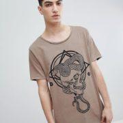 ASOS DESIGN - Lang geschnittenes Shirt mit U-Ausschnitt