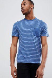 Abercrombie & Fitch - Blaues T-Shirt mit verwaschenen Blockstreifen und Tasche mit Elch-Logo - Blau - Farbe:Blau