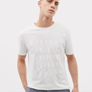 Tiger of Sweden Jeans - Schmal geschnittenes T-Shirt in gebrochenem Weiß mit Textaufdruck auf der Brust - Weiß - Farbe:Weiß
