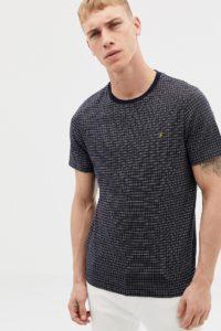 Farah - Brundon - Mit Gitterkaros bedrucktes T-Shirt in Marine - Navy - Farbe:Navy