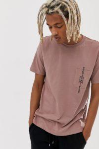 Diesel - T-Just - T-Shirt in Staubrosa mit Tasche - Rosa - Farbe:Rosa