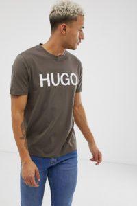 HUGO - Dolive-U3 - T-Shirt in Khaki mit Logo - Grün - Farbe:Grün