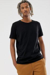 Weekday - Schwarzes T-Shirt mit unverarbeitetem Saum - Schwarz - Farbe:Schwarz
