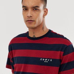 "New Look - Oversized-T-Shirt mit ""Paradise""-Stickerei und burgunderroten Streifen - Rot - Farbe:Rot"