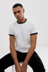 Farah - Groves - Schmal geschnittenes Ringer-T-Shirt in Weiß - Weiß - Farbe:Weiß