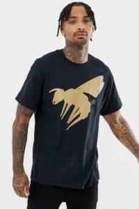 A London - Übergroßes T-Shirt mit goldenem Wespenprint - Schwarz - Farbe:Schwarz