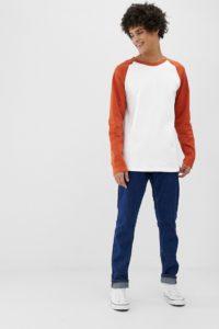 Weekday - Rupert - Langärmliges Oberteil mit Raglanärmeln in Weiß und Orange - Weiß - Farbe:Weiß