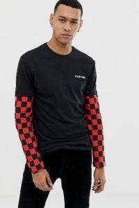YOURTURN - Langärmliges Oberteil in Schwarz und Rot mit Schachbrettmuster an den Ärmeln - Schwarz - Farbe:Schwarz