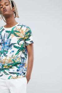 Weekday - Weißes T-Shirt mit tropischem Muster - Mehrfarbig - Farbe:Mehrfarbig