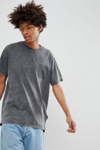 YOURTURN - Dunkelgraues T-Shirt mit Schatten-Tasche - Grau - Farbe:Grau