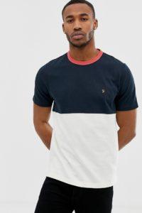 Farah - Ewood - T-Shirt in Marine mit Farbblockeinsatz - Navy - Farbe:Navy