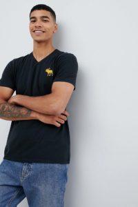 Abercrombie & Fitch - Exploded - Schwarzes T-Shirt mit V-Ausschnitt und Pop-Icon-Logo - Schwarz - Farbe:Schwarz