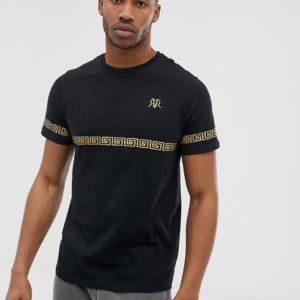 River Island – Schmal geschnittenes T-Shirt in Schwarz mit goldenem Print – Schwarz