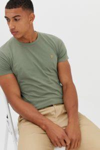 Farah - Farris - Schmal geschnittenes Logo-T-Shirt in Hellgrün - Grün - Farbe:Grün