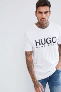 HUGO - Weißes T-Shirt mit großem Logo - Weiß - Farbe:Weiß