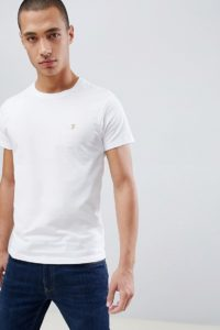 Farah - Farris - Schmal geschnittenes T-Shirt in Weiß mit Logo - Weiß - Farbe:Weiß