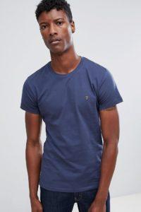 Farah - Farris - Marineblaues T-Shirt mit schmaler Passform und Logo - Navy - Farbe:Navy