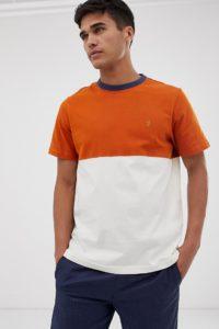 Farah - Ewood - T-Shirt in Orange mit Farbblockeinsatz - Orange - Farbe:Orange