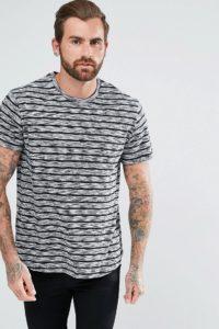 YOURTURN - T-Shirt mit grauen Streifen - Weiß - Farbe:Weiß