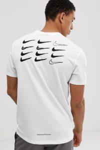 Nike Running - Miler - Weißes T-Shirt mit Swoosh-Logo bedruckt - Weiß - Farbe:Weiß