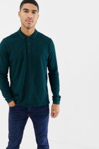 HUGO - Donol - Langärmliges Pikee-Polohemd mit Zierstreifen in Grün - Grün - Farbe:Grün
