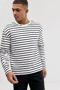Farah - Bain - Langärmliges T-Shirt in gebrochenem Weiß gestreift - Weiß - Farbe:Weiß