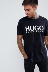 HUGO - Schwarzes T-Shirt mit großem Logo - Schwarz - Farbe:Schwarz