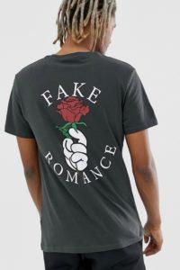 YOURTURN - Dunkelgraues T-Shirt mit beidseitigem Print - Grau - Farbe:Grau