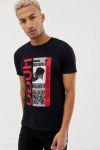 HUGO - Didentity - Schwarzes T-Shirt mit Grafikdruck - Schwarz - Farbe:Schwarz