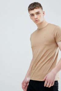 Farah - Farris - Sandfarbenes T-Shirt mit schmaler Passform und Logo - Braun - Farbe:Braun