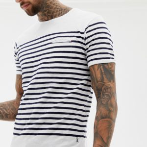 Ringspun – Gestreiftes T-Shirt – Schwarz