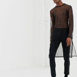 ASOS DESIGN – Lässiges Shirt mit extrem langen Ärmeln, Netzstoff und Schlitz am Saum – Schwarz