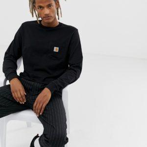 Carhartt WIP – Langärmliges Shirt in Schwarz mit Tasche – Schwarz