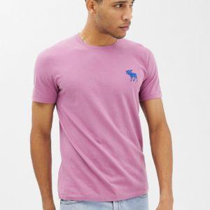 Abercrombie & Fitch – T-Shirt in Dunkelrosa mit großem Logo-Symbol – Rosa