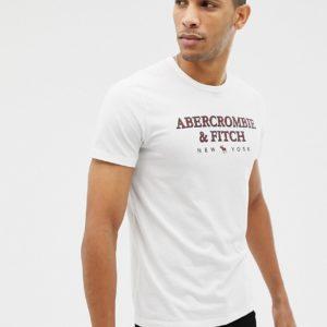 Abercrombie & Fitch – Weißes T-Shirt mit großem Logo auf der Brust – Weiß