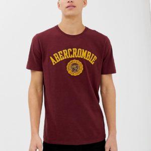 Abercrombie & Fitch – T-Shirt in Burgunderrot mit Logoapplikation auf der Brust – Rot