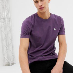 Abercrombie & Fitch – T-Shirt mit ikonischem Logo in Violett – Violett